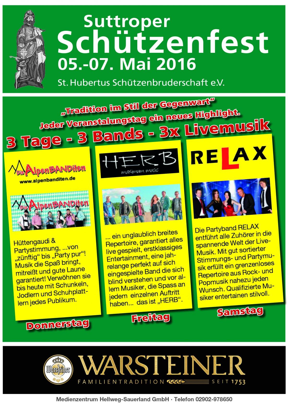 Schützenfest 2016 – 3 Tage – 3 Bands