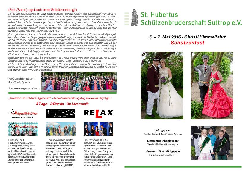 Schützenfest 2016 – Festprogramm
